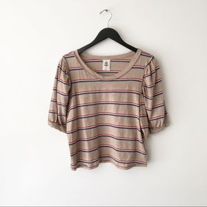 Free People Molly Striped Tee Puff Sleeve Retro